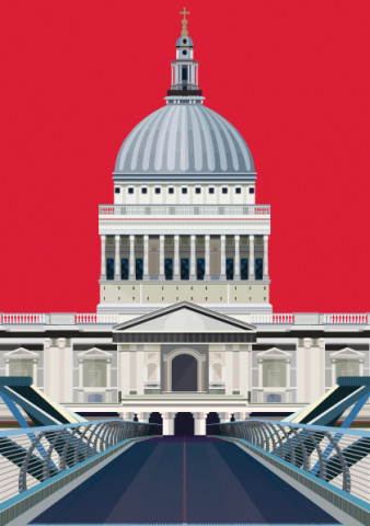 Millennium Bridge and St Paul's vector graphic illustration - designed by Emma Sivell / SIVELLINK