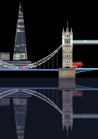 Tower Bridge and The Shard vector graphic illustration - A3 Print - designed by Emma Sivell / SIVELLINK