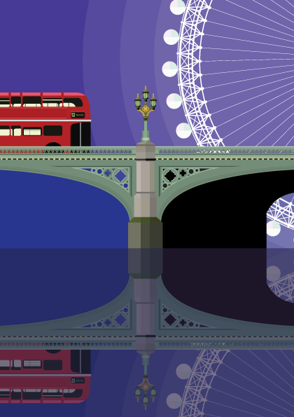 Westminster Bridge and the London Eye. A beautiful wrought iron arch bridge and the first design in my illustrated London bridge collection.