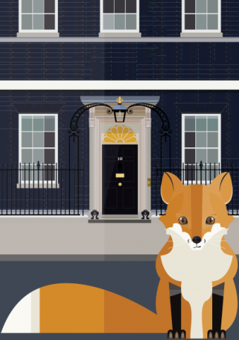 Downing Street Fox - A3 Print - London animal collection - illustrated by Emma Sivell / SIVELLINK