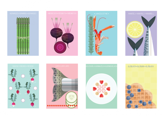 Nordic Food Illustrations - 8 x A5 Postcards